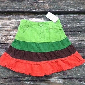 Children's Place Corduroy Skirt 6-9M Green Orange